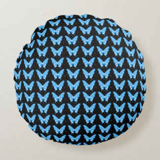 Snuggle_Blue-Butterflies--Butterflies-Fly-Free Round Pillow