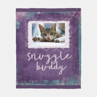 Snuggle Buddy Purple/Teal Fleece Photo Blanket