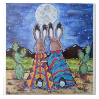 """Snuggle Bunnies"" 6"" tile/trivet; romantic rabbits Ceramic Tiles"