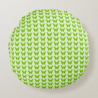 Snuggle_Green-Butterflies--Butterflies-Fly-Free Round Pillow