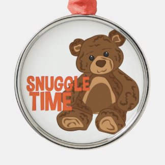 Snuggle Time Silver-Colored Round Ornament