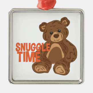 Snuggle Time Silver-Colored Square Ornament