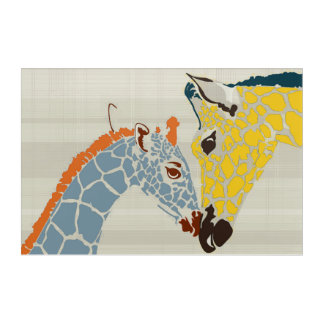 Snuggles and Nuzzles with Giraffes Acrylic Wall Art