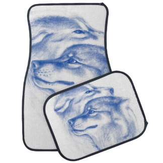 Snuggling Alpha Wolves Blue Car Mat