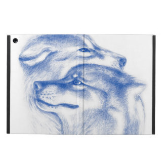 Snuggling Alpha Wolves Blue Case For iPad Air
