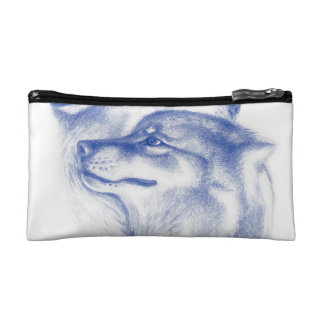 Snuggling Alpha Wolves Blue Cosmetic Bag