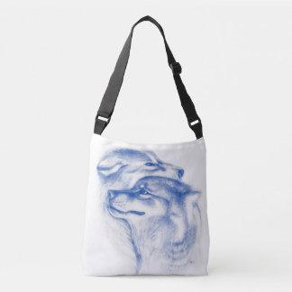 Snuggling Alpha Wolves Blue Crossbody Bag