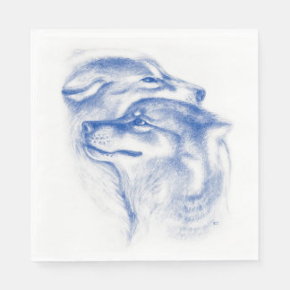 Snuggling Alpha Wolves Blue Disposable Napkin
