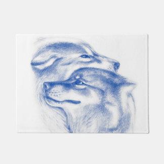 Snuggling Alpha Wolves Blue Doormat