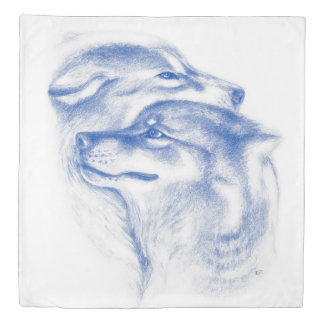 Snuggling Alpha Wolves Blue Duvet Cover