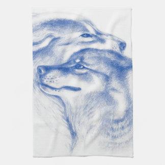 Snuggling Alpha Wolves Blue Kitchen Towel