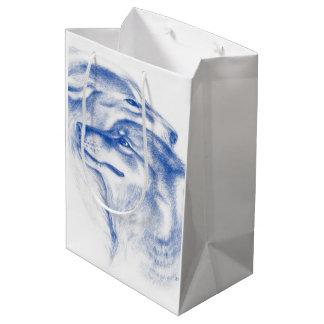 Snuggling Alpha Wolves Blue Medium Gift Bag