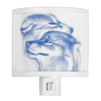 Snuggling Alpha Wolves Blue Nite Lights
