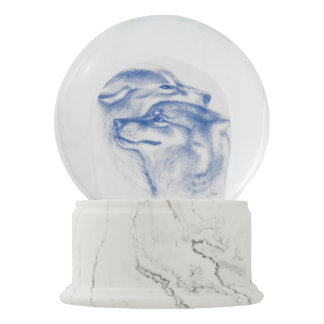 Snuggling Alpha Wolves Blue Snow Globe