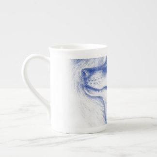Snuggling Alpha Wolves Blue Tea Cup