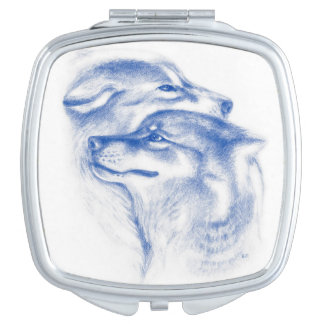 Snuggling Alpha Wolves Blue Vanity Mirrors