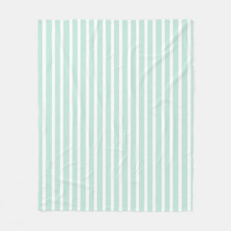 Snuggly Cute Mint Green and White Striped Fleece Blanket