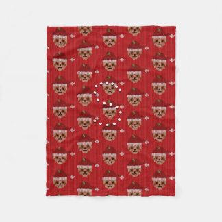 Snuggly Red Santa Sloth Fleece Blanket