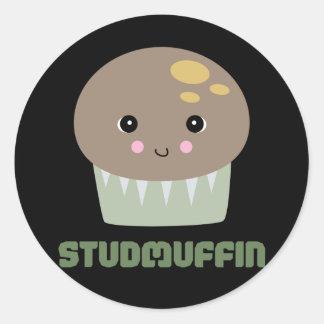 so cute kawaii stud muffin classic round sticker