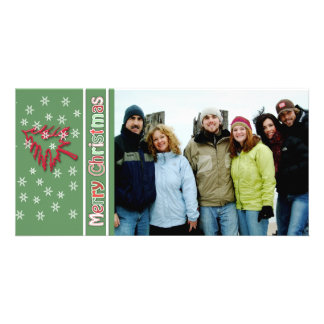 So Cute Merry Christmas Red Pine White Snowflakes Card