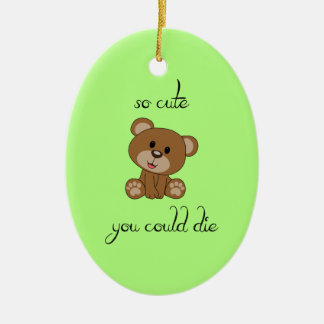 So Cute Teddy Ceramic Oval Ornament