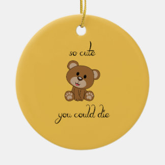 So Cute Teddy Round Ceramic Ornament