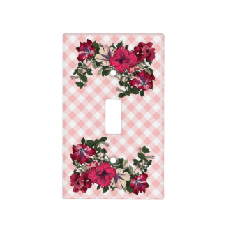 So Feminine Pink Gingham and Flowers Light Switch Cover