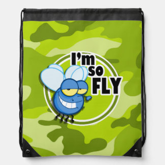 So Fly!  bright green camo, camouflage Drawstring Bags