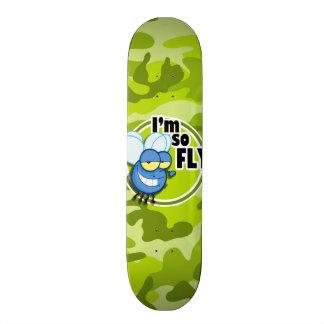 So Fly bright green camo camouflage Custom Skate Board