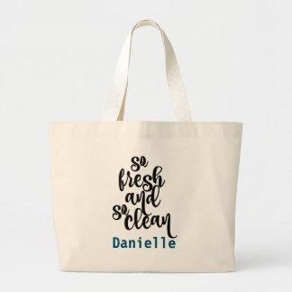 So Fresh So Clean Black & White Design Large Tote Bag