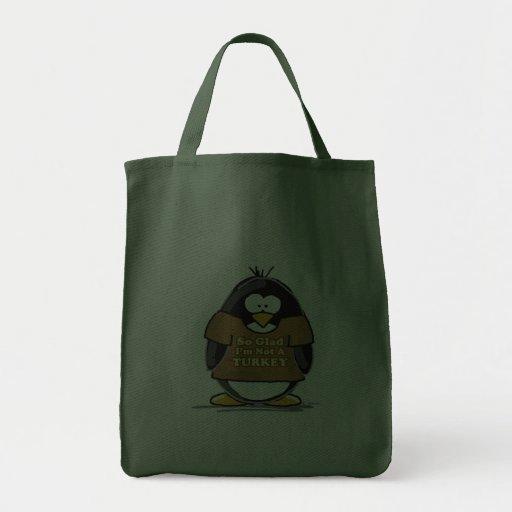 So glad I'm not a Turkey Penguin Canvas Bag