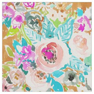 SO LUSCIOUS Colorful Boho Floral Watercolor Fabric