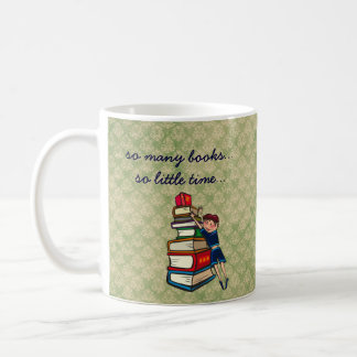 so many books, so little time girl with books coffee mug