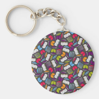 So Many Colorful Books... Basic Round Button Keychain