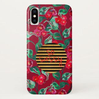 So sassy pattern vintage dark red iPhone x case
