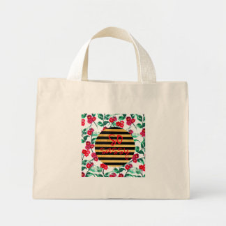 So sassy pattern with gold and black stripes mini tote bag