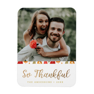 So Thankful Thanksgiving Typography Magnet