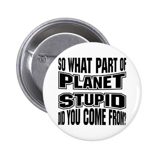 So What Part Of Planet Stupid Do You Come From Pinback Button