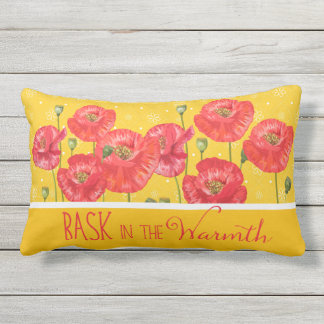 Soak in the Beauty Yellow and Red Poppies Outdoor Pillow
