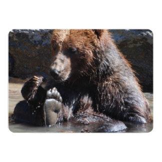 "Soaking Bear 5"" X 7"" Invitation Card"