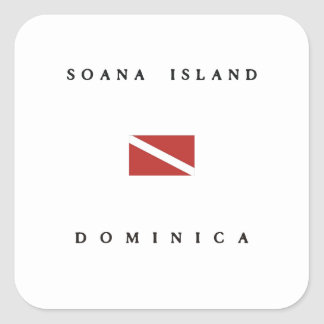 Soana Island Dominica Scuba Dive Flag Square Sticker