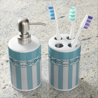 Soap Dispenser & Toobrush Blue/Gray Stripe - Flora