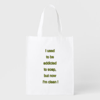 Soap funny text reusable grocery bag