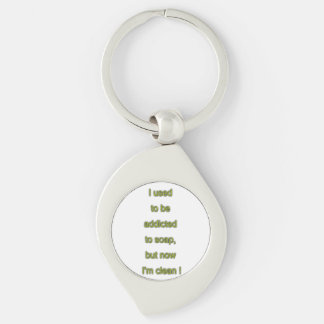 Soap funny text Silver-Colored swirl keychain