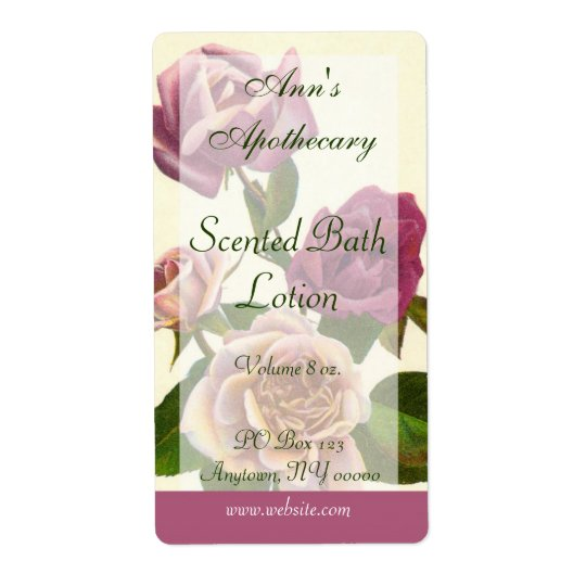 Soap, Spa, or Bath Products Label - Rose Shipping Label