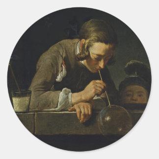Soap Wind By Chardin Jean-Baptiste Siméon (Best Qu Classic Round Sticker
