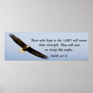 Soar like an eagle bible verse Isaiah 40:31 poster