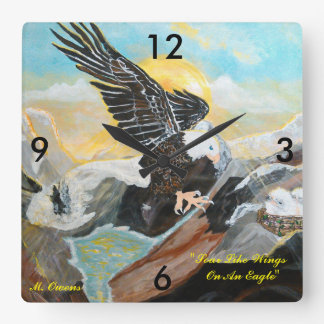 """Soar Like Wings On An Eagle"" Square Clock"