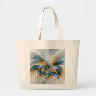 Soaring, Abstract Fantasy Fractal Art With Blue Large Tote Bag