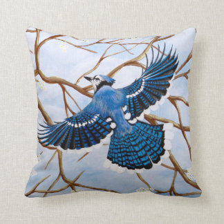 Soaring Blue Jay Throw Pillow